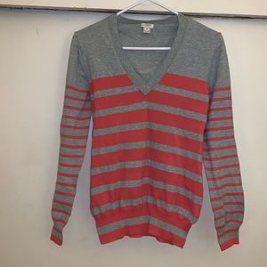 J. Crew Gray with Coral Stripes V Neck Sweater